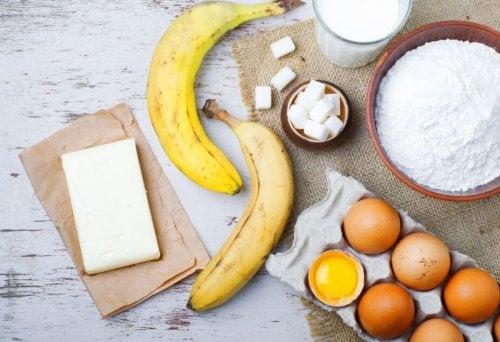 Ingredientes para fazer bolo de banana