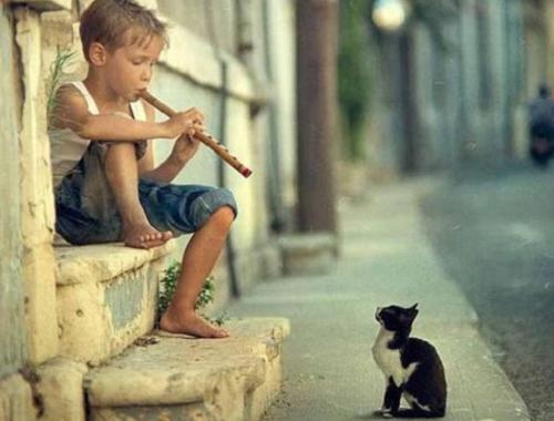 Menino tocando música para a saúde