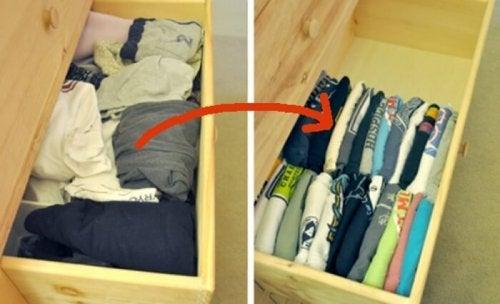 Como organizar as roupas na gaveta