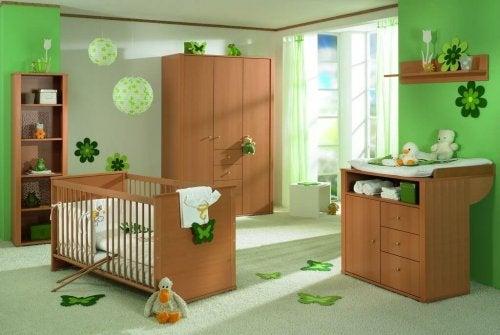 Decoração de quarto verde