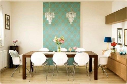 Papel de parede na sala de jantar