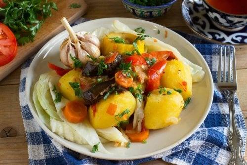 Legumes assados no jantar