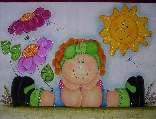 Pintura infantil com glitter
