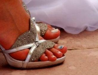 Decoração das unhas dos pés para o casamento