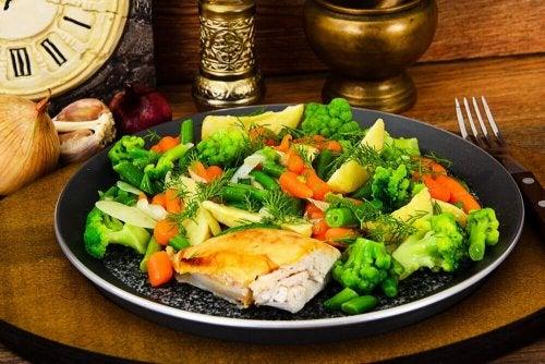 Dieta semanal para perder peso à base de frango e vegetais