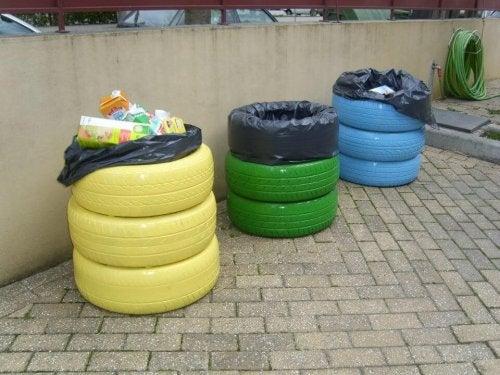 Usar pneus para fazer cestos reciclados