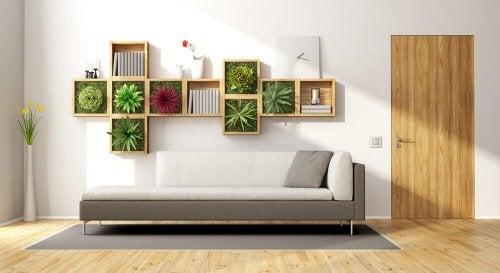 Jardim vertical em uma estante