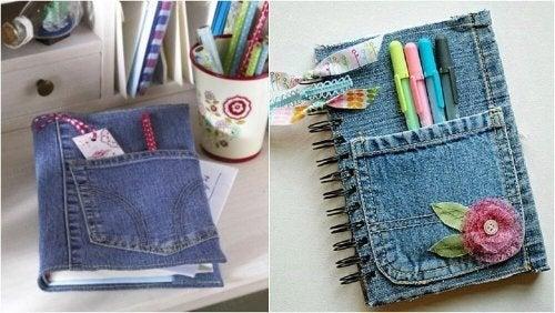Ao reciclar calças jeans, pode fazer cadernos