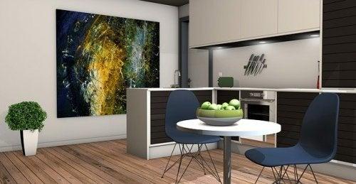 Mesa da sala decorada com frutas