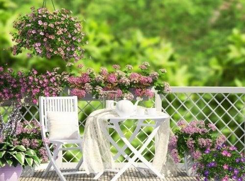 Terraço colorido com um estilo romântico