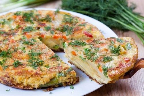 Tortilhas de batata e vegetais