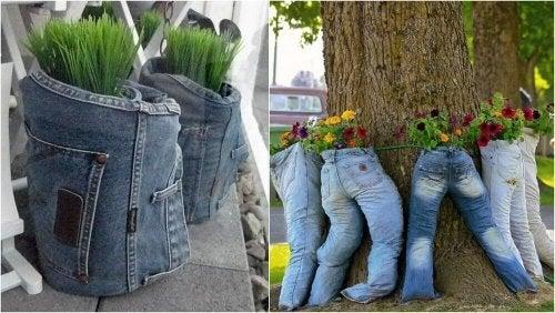 Ao reciclar calças jeans, pode fazer vasos