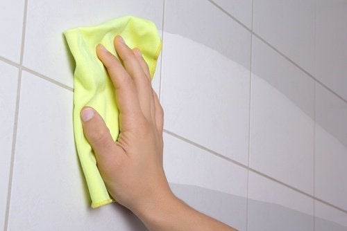 Pessoa fazendo a limpeza do banheiro com um pano