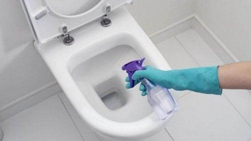 Mulher fazendo limpeza do banheiro com produtos naturais