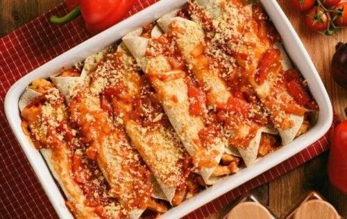 Enchiladas com abóbora ao forno