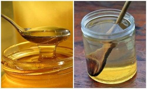 Tratamento da dor de garganta com água e mel