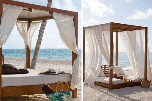 Cama balinesa com cortinas