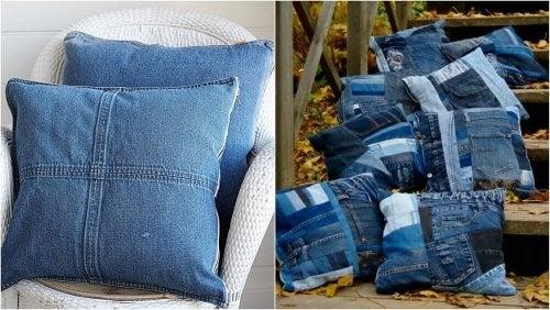 Almofadas com camisas jeans velhas