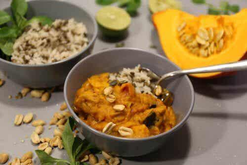 Receita de arroz jasmim com abóbora