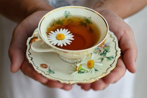 Chá de camomila e cavalinha