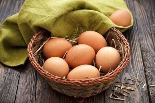 Cesta de ovos para dieta ovovegetariana