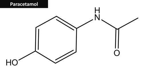 Fórmula química do paracetamol.Um dos genéricos mais utilizados.