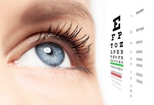 Olho e cartas de exame visual