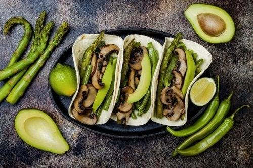Tacos veganos com recheio