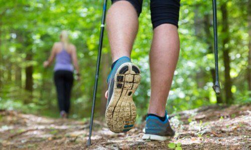 Caminhada nórdica pela floresta