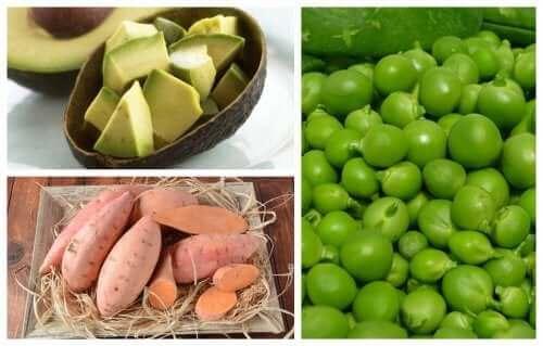 Receita com batatas-doces, ervilhas e abacate