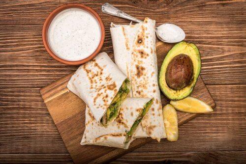 Burrito com abacate