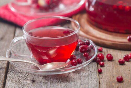 Xícara de chá de cranberry