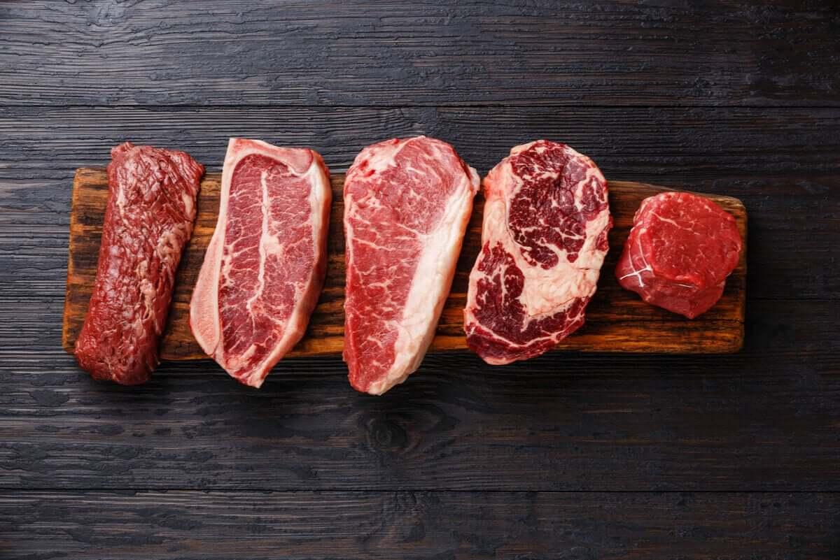 Cortes de carne vermelha