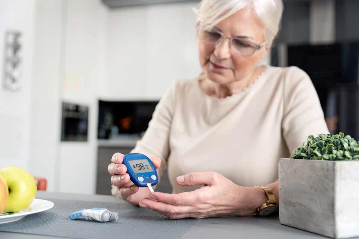 Senhora com diabetes