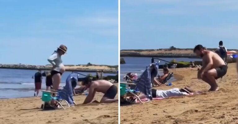 O amor está nas pequenas atitudes: homem faz buraco na areia para acomodar a barriga da esposa grávida